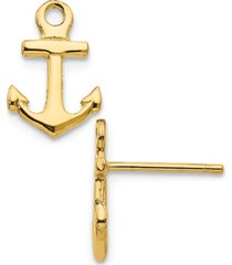 anchor stud earrings in 14k yellow gold