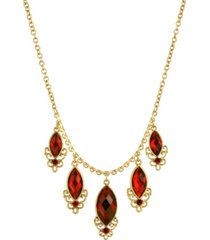 2028 women's 14k gold dipped red 5 drop necklace