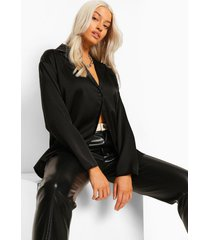 satijnen blouse met revers kraag, black