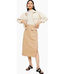 sand denim midi skirt with flap pockets - sand