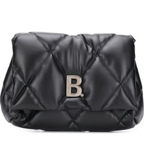 balenciaga touch puffy clutch bag - black
