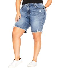 plus size women's city chic high waist distressed denim shorts, size 16w - blue