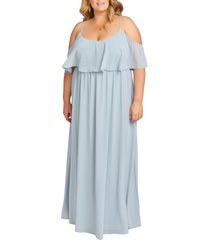 plus size women's show me your mumu caitlin ruffle cold shoulder evening dress, size 3x - blue
