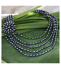 cultured pearl flower necklace, 'mystical magnolia' (thailand)