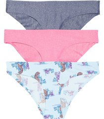 women's honeydew intimates skinz 3-pack hipster panties, size large - purple