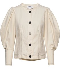 button-detailed blouse with puffed sleeves blus långärmad creme designers, remix