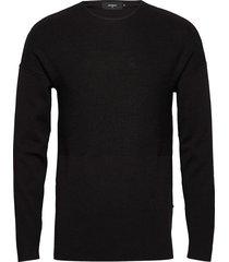 bentley compact wool gebreide trui met ronde kraag zwart matinique
