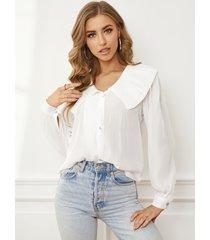 botón yoins diseño blusa de manga larga con cuello de solapa plisado