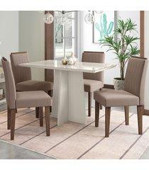 mesa de jantar 4 lugares ana 1352 100% mdf off white/castanho - new ceval