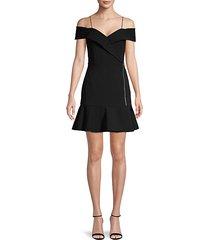dash cold-shoulder wrap flounce dress