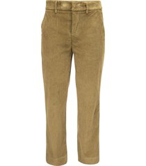 dondup meli - loose fit trousers in thousand-striped velvet