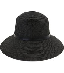 wide brim straw hat with leather detail
