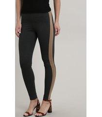 calça legging feminina com recorte lateral cinza mescla escuro