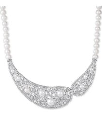 "arabella cultured freshwater pearl (5-10mm) & swarovski zirconia 17"" statement necklace in sterling silver, created for macy's"