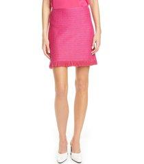 women's st. john collection poppy textured knit skirt, size 8 - pink