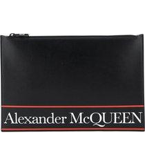 alexander mcqueen flat pouch logo selvedge