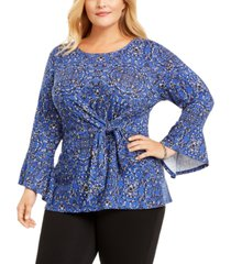 ny collection plus size printed tie-waist bell-sleeve top