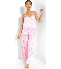 petite cheeta print pyjama set met broek, hot pink