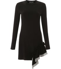 area jersey dress with ruffle and rhinestones