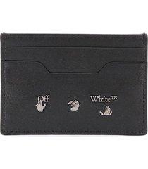 off-white logo-lettering cardholder - black