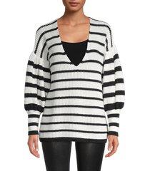 caroline constas women's striped v-neck knit top - white black - size m