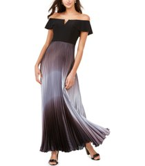 betsy & adam off-the-shoulder ombre gown