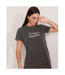 """t-shirt de algodão com bordado inspiration"""" manga curta decote redondo mindset chumbo"""""""