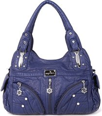 donna soft borsa a mano in pelle multitasche solid casual spalla borsa
