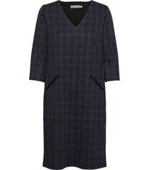 frmecheck 2 dress knälång klänning blå fransa