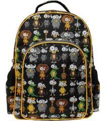 mochila infantil masculina 4 divisões animais - unissex