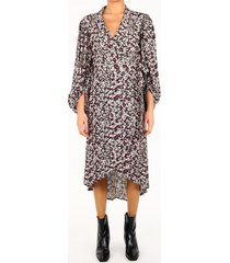 ganni wrap dress in floral