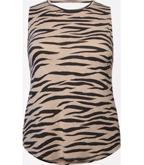maurices plus size womens 24/7 zebra print strappy back tank top beige