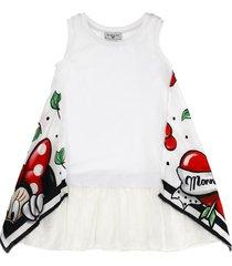 monnalisa cherry print foulard jersey dress