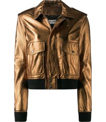 saint laurent metallic aviator jacket - gold