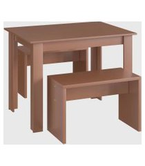 conjunto mesa 2 bancos ceramic móveis cançáo marrom