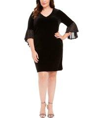 connected plus size velvet bell-sleeve dress