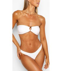 tortoise shell ring bandeau bikini top, white