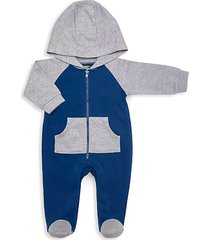 baby boy's quilted hooded cotton-blend footie