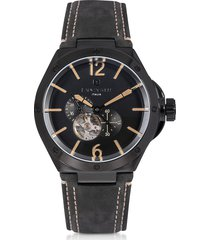 lancaster designer men's watches, space shuttle meccanico black stainless steel and nubuck men's watch
