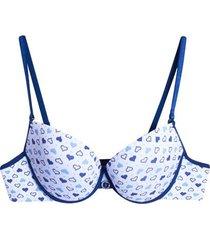 brasier corazones azul color azul, talla 34