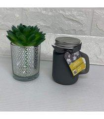 conjunto de mini vaso prata com suculenta e vela decorativa perfumada cinza