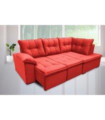 sofá retrátil cama com chaise napoles 2,48 x 1,50m suede amassado vermelho - cama inbox