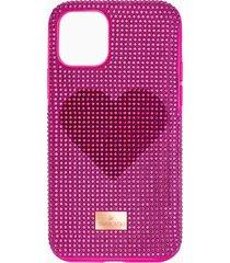 custodia per smartphone con bordi protettivi crystalgram heart, iphoneâ® 11 pro, rosa