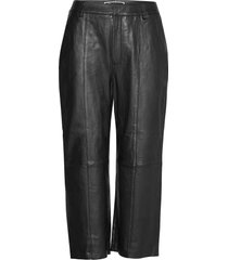 edit leather wide leg leather leggings/byxor svart superdry