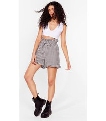 womens gingham a call belted paperbag shorts - black