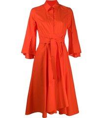 paule ka flared shirt dress - orange