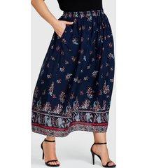 yoins plus talla falda de cintura alta con estampado tribal azul marino