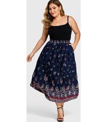 yoins plus size navy tribal print high-waisted skirt