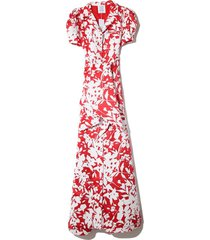 puff sleeve dress in serrano red