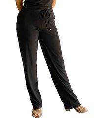 pantalón licrado bota recta negro plica